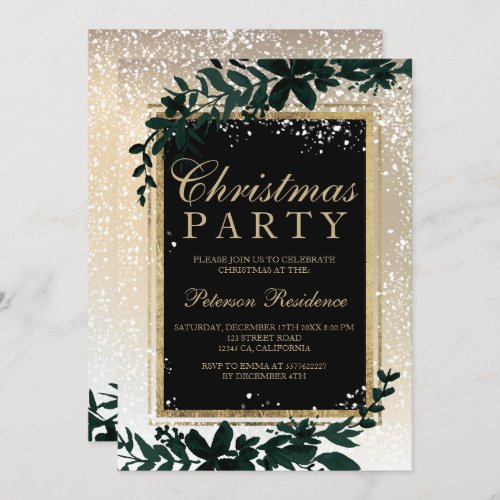 gold typography leaf snow elegant chic Christmas Invitation
