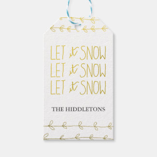 Gold Typography Let It Snow Script Holiday Gift Tags