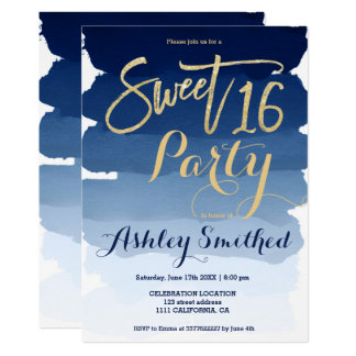 Gold typography navy blue watercolor Sweet 16 Card
