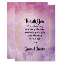 Gold typography pink watercolor thank you invitation