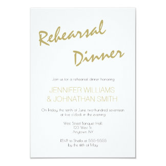 Gold typography rehearsal dinner invitations