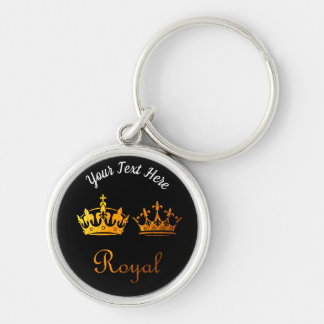 Gold Typography: Royal Crowns Keychain