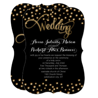 Gold TYPOGRAPHY Wedding Invitations