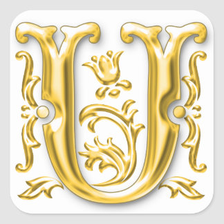 Gold U - Initial U Sticker
