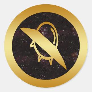 GOLD UFO CLASSIC ROUND STICKER
