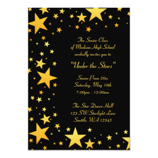 "Gold Under the Stars Prom Formal Invitations 5"" X 7"" Invitation Card"