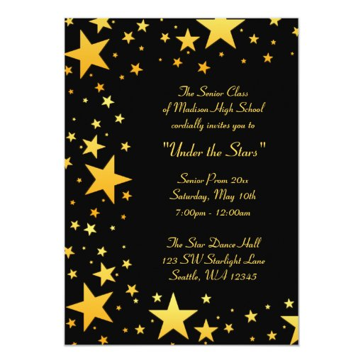 Gold Under the Stars Prom Formal Invitations