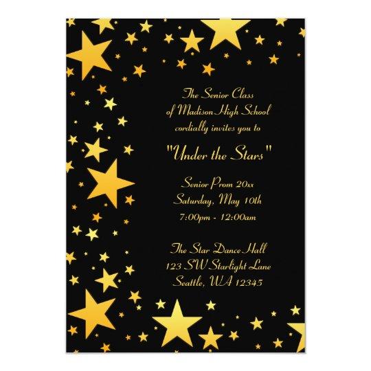 Gold Under the Stars Prom Formal Invitations