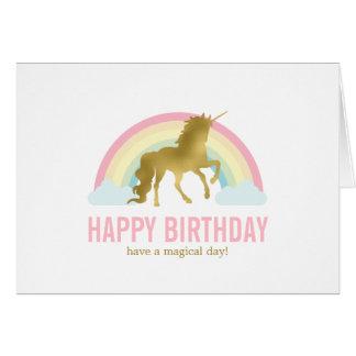 Gold Unicorn Birthday Card
