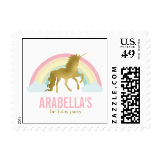 Gold Unicorn Birthday Party Postage