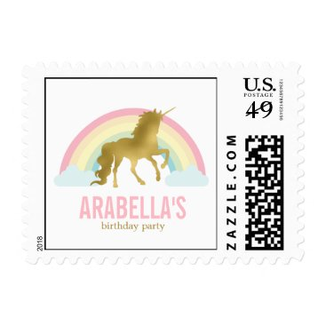 heartlocked Gold Unicorn Birthday Party Postage