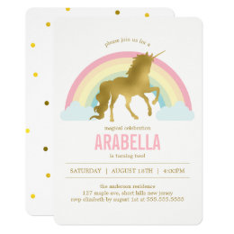 Gold Unicorn Girls Birthday Party Card