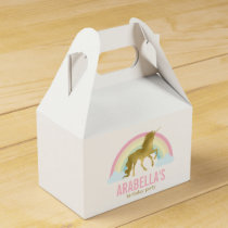 Gold Unicorn Girls Birthday Party Favor Box