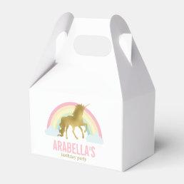 Gold Unicorn Girls Birthday Party Favor Box