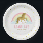 "Gold Unicorn Girls Birthday Party Paper Plate<br><div class=""desc"">Adorable birthday party plates featuring a cute unicorn on a gold dots background and can be personalized with your child&#39;s name or message of your choice.</div>"
