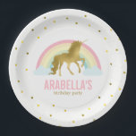"""Gold Unicorn Girls Birthday Party Paper Plate<br><div class=""""desc"""">Adorable birthday party plates featuring a cute unicorn on a gold dots background and can be personalized with your child&#39;s name or message of your choice.</div>"""