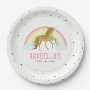 Gold Unicorn Girls Birthday Party Paper Plate at Zazzle
