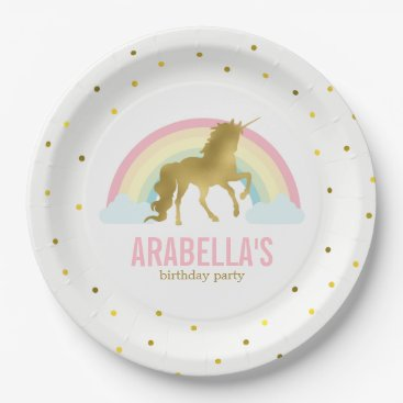 heartlocked Gold Unicorn Girls Birthday Party Paper Plate