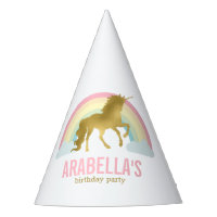 Gold Unicorn Girls Birthday Party Party Hat