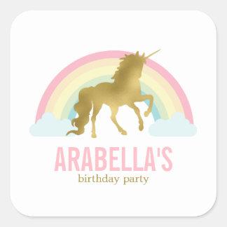 Gold Unicorn Girls Birthday Party Square Sticker