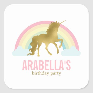 heartlocked Gold Unicorn Girls Birthday Party Square Sticker