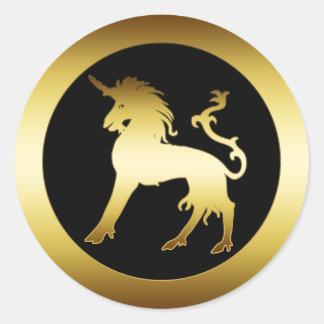 GOLD UNICORN CLASSIC ROUND STICKER