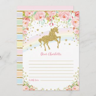 Gold Unicorn Time Capsule Pink Roses Message Card