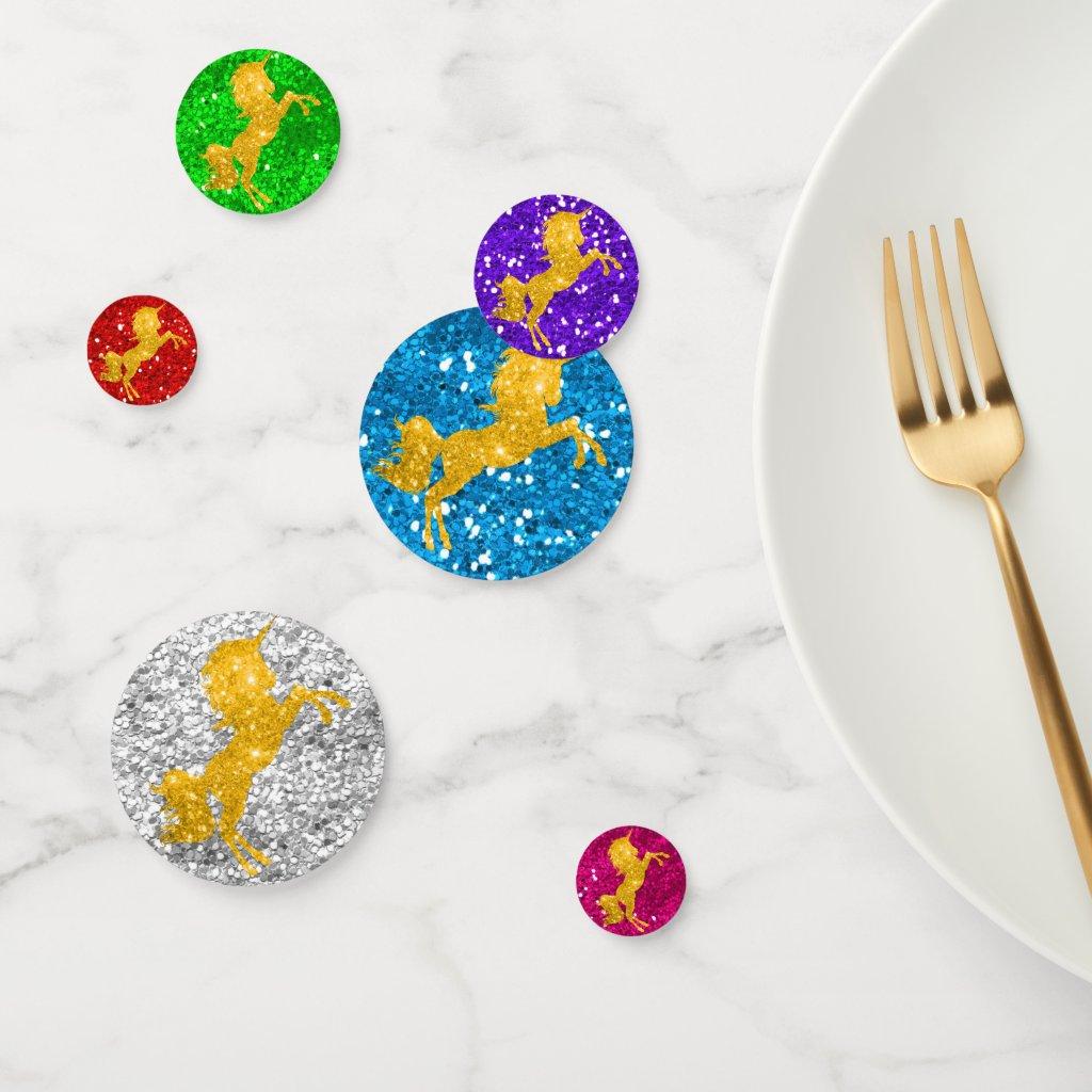 Gold Unicorns and Rainbow Glitter Confetti