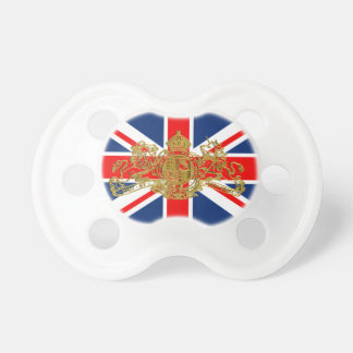 Gold Union Jack Dieu Mon Droit British Coatof Arms Pacifier