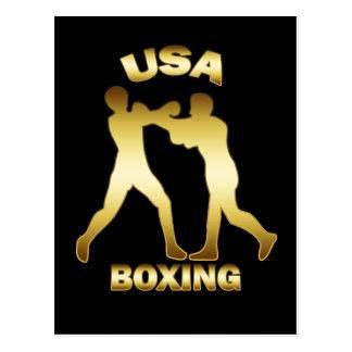 GOLD USA BOXING POSTCARD