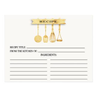 Gold Utensils Bridal Shower Recipe Cards
