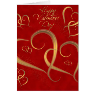 Gold Valentine Hearts Card