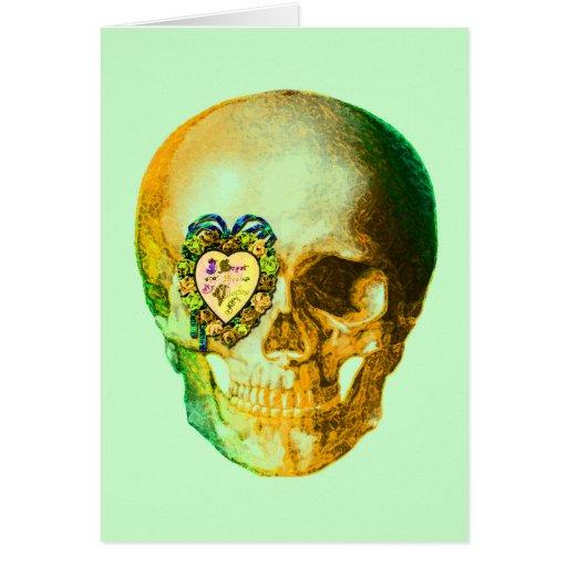 Gold Valentine Skull Greeting Card