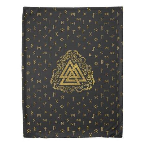 Gold Valknut Symbol on Runes Pattern Duvet Cover