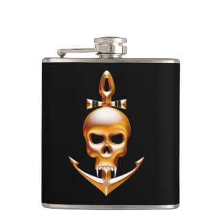 Gold Vampire and Anchor  Skull Hip Flask