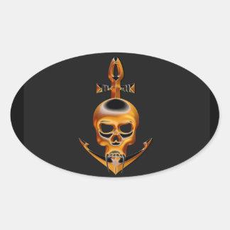 Gold Vampire and Anchor  Skull Oval Sticker