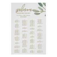 Gold Veined Eucalyptus Alphabetical Seating Chart