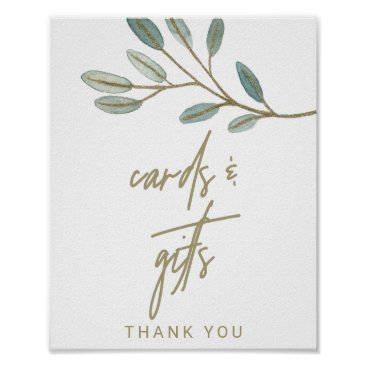 Art Themed Gold Veined Eucalyptus Cards and Gifts Sign