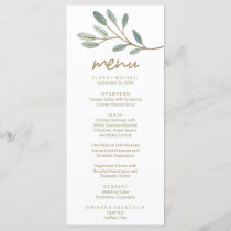 Gold Veined Eucalyptus Dinner Menu Card