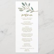 Gold Veined Eucalyptus Dinner Menu Card