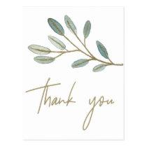 Gold Veined Eucalyptus Thank You Postcard