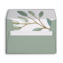 Gold Veined Eucalyptus Wedding Invitation Envelope