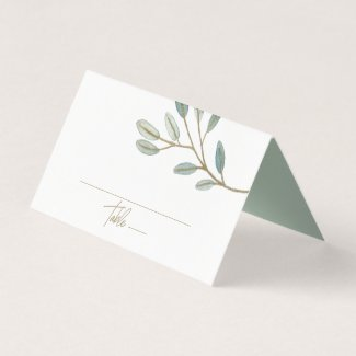 Gold Veined Eucalyptus Wedding Place Card