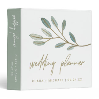 Gold Veined Eucalyptus Wedding Planner 3 Ring Binder