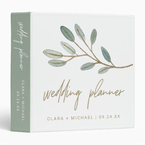 Gold Veined Eucalyptus Wedding Planner 3 Ring Binder