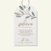Gold Veined Eucalyptus Wedding Welcome Gift Tags