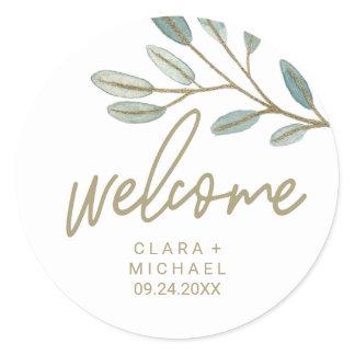 Gold Veined Eucalyptus Welcome Wedding Classic Round Sticker