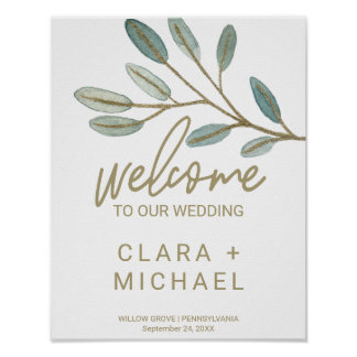Gold Veined Eucalyptus Welcome Wedding Poster