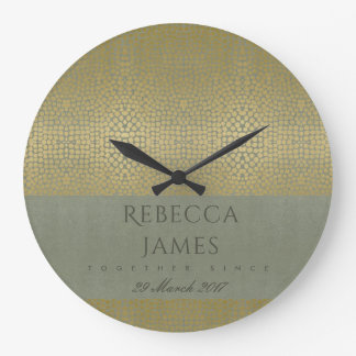 GOLD VELVET GREY MOSAIC DOTS SAVE THE DATE GIFT LARGE CLOCK