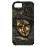 Gold Venetian carnival mask with blue hat iPhone 5 Covers